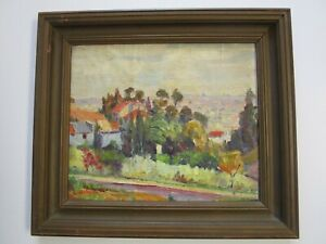 ANTIQUE PAINTING HOLLYWOOD HILLS? OLD CALIFORNIA PAINTING LOS ANGELES LANDSCAPE $800.00