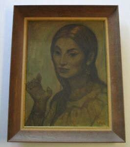 SALVADOR SIGNED 1950#x27;S MID CENTURY PAINTING MODERNIST EXPRESSIONISM FEMALE MODEL $480.00