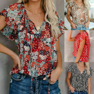 Womens Summer V Neck Short Sleeve T Shirt Floral Print Casual Blouse Loose Tops $13.75