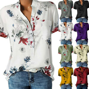 Women Blouse Loose Tops Short Sleeve Button Summer V Neck Casual Floral T Shirt $13.96