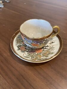Awesome Small Antique Japanese Satsuma Cup saucer Early Meiji Period NO Reserve