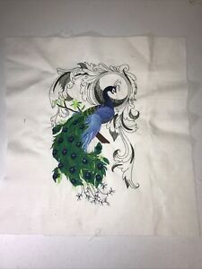 Embroidered Peacock Quilting Square Could Be Framed Crafting beautiful $12.99