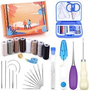 31 Pieces Leather Sewing Kit Leather Sewing Upholstery Repair Kit with 8 Colors $18.79