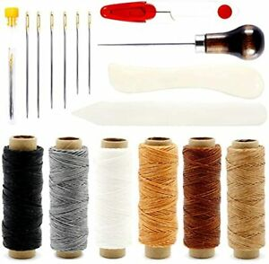 Leather Sewing Kit 6 Color Waxed Thread with 3 Sizes Large Eye Sewing Needles $17.79