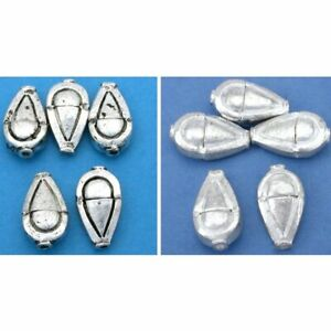Teardrop Silver Plated Beads 18.5mm 16 Grams 5Pcs Approx. Antique Kit $9.78
