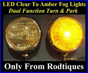 LED Clear to Amber Turn Signal Park Driving Chrome Fog Lights Universal Ford $119.95