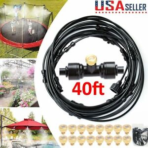 US Outdoor Patio Water Mister Mist Nozzles Misting Cooling System 40FT Hose Long