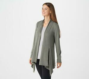 Cuddl Duds Womens Brushed Knit Cascade Front Wrap Nickel Grey Large A368093 $12.48
