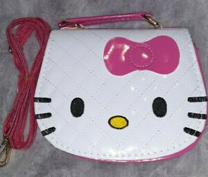 *BRAND NEW* WHITE LEATHER HELLO KITTY PURSE W LEATHER ADJ DETACH SHOULDER STRAP