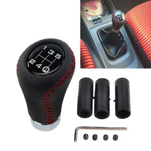 5 Speed Leather Aluminum Manual Shift Knob Gear Stick Shifter Lever Universal $15.38