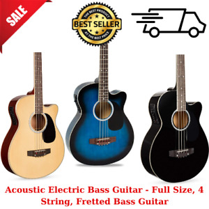 Acoustic Electric Bass Guitar Full Size 4 String Fretted Bass Guitar