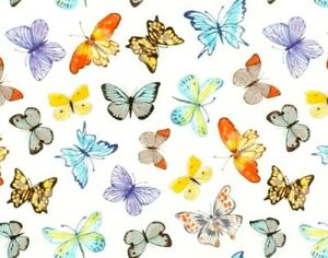 FAT QUARTER FABRIC BUTTERFLY COLORFUL BUTTERFLIES QUILTING 100% COTTON FQ $3.95