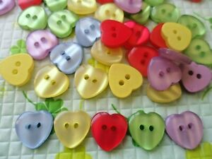60pcs Mixed Resin Heart Sewing Kids Baby Buttons 15mm $2.99
