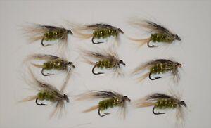 Lot of 9 New Custom Fly Fishing Flies Trout Lures Bugs