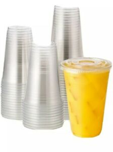 24 Oz Disposable Clear Plastic To Go Cups With Lids 100 Sets Restaurant Style