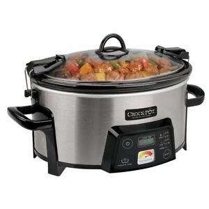 Crock Pot 6 Quart Cook Carry Digital Slow Cooker with Heat Saver Stoneware Br