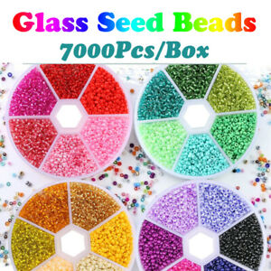 7000PCS Box DIY Crystal Glass Necklace Bracelet Beads Set for Jewelry Making 2mm $6.07