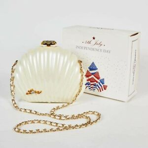 RARE CHANEL Clam Shell Bag Clutch Purse Independence day $650.00