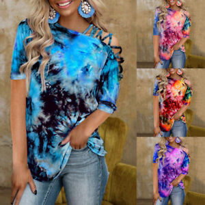 Women Cold Shoulder Short Sleeve Tie Dye Sexy T Shirt Casual Blouse Loose Tops