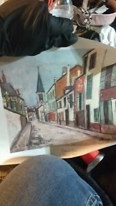 Maurice Utrillo French Village Street Scene Painting In Antique on canvas $3600.00