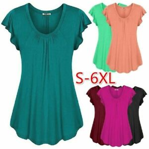 Women Summer Short Sleeve Blouse Casual Crew Neck T Shirt Solid Tunic Loose Tops
