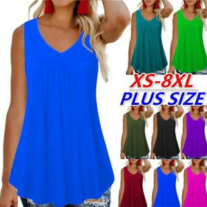 Womens Sleeveless T Shirt Summer Loose Tank Top Solid Casual Crew Neck Blouse $12.79