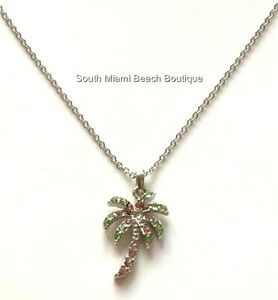 Silver Crystal Palm Tree Necklace 18 Coconut Island Beach Nautical Plated $7.99