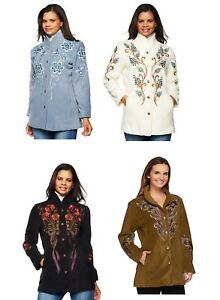 Bob Mackie Embroidered Fleece Jacket with Quilted Collar Sz S L 1X 240434RM $22.99