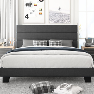 King Size Platform Bed Frame With Headboard And Wood Slat Support Fabric Uphol