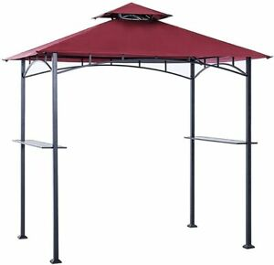 Canopy Roof 8 x 5 Grill Shelter Replacement Burgundy For Grill Gazebo Roof Only