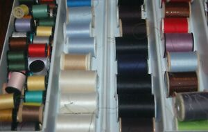 200 SPOOLS OF VINTAGE THREAD IN ASSORTED COLORS SIZES AND BRANDS $30.00