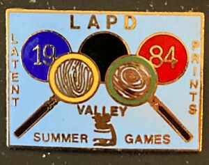 1984 LAPD Lapel Pin Latent Print Summer Valley Games 1 1 2 x 1 $4.99