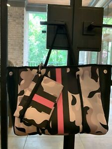 Neoprene Tote Pale pink camouflage black and pink stripe.