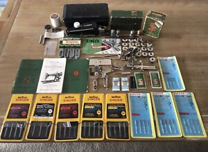VINTAGE SINGER SEWING LOT FEATHERWEIGHT ATTACHMENTS BUTTONHOLER TOOLS Access $89.95