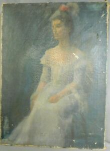 Antique Painting Portrait Pretty Lady White Dress Kathryn Leone Wood AsIs DIRTY $199.00