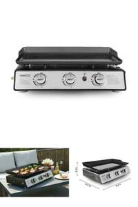 Portable Table Top 24 Inch Gas Grill 3 Burner Griddle Black Outdoor Cooking Camp $129.40
