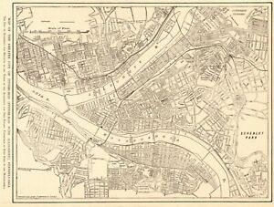 1908 Antique PITTSBURGH Street Map City Map of Pittsburgh Pennsylvania 9169 $19.50