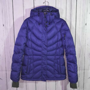 Lands End womens sz S 6 8 Down Coat Jacket Hooded Quilted puffer thumb holes EUC $29.99