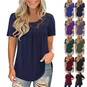 Summer Women Lace Blouse Crew Neck T Shirt Solid Short Sleeve Casual Tunic Tops $11.62