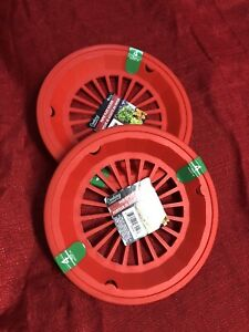 8 pc Red Paper Plate Holders Rigid Plastic Washable Picnic BBQ Cookout