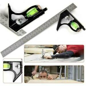 12#x27;#x27; Adjustable Engineers Combination Try Square Set Right Angle Ruler Tool USA $10.05