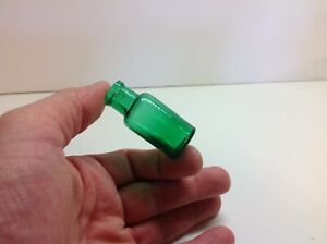 Small Emerald Green Antique Cork Top Medicine Bottle. 2 Inches Tall. $13.00