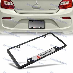 For 1PCS MITSUBISHI Black White License Plate Frame Stainless Steel Metal New $10.88