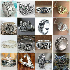 Unique Women Men 925 Silver Hand carved Flowers Animal Ring Party Jewelry SZ5 13