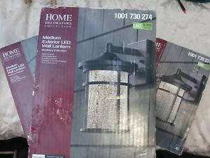 3 Home Dec. Collection Aged Iron Outdoor LED Wall Lantern Crackle Glass