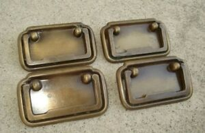 Vintage Lot Set 4 Rectangle Brass Drawer Swing Pull Handle Marked CP 1863 Canada $16.00