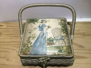 Vintage Sears Roebuck Wicker Sewing Basket 8quot; x 8quot; x 4quot; w Decorative Picture Lid $12.99