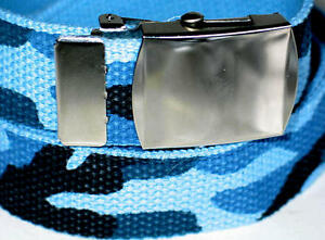 Canvas BLUE CAMOUFLAGE 45quot; x 1 1 4quot; Military Web Fabric Belt SILVER Metal BUCKLE