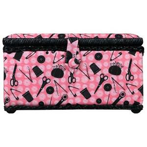 SINGER Sewing Basket in Pink Notions Print with 126 Piece Sewing Kit with Basic $29.74