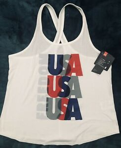 """1358100..NEW..UNDER ARMOUR WOMEN LARGE FREEDOM USA TANK TOP..25""""LENGTH.."""
